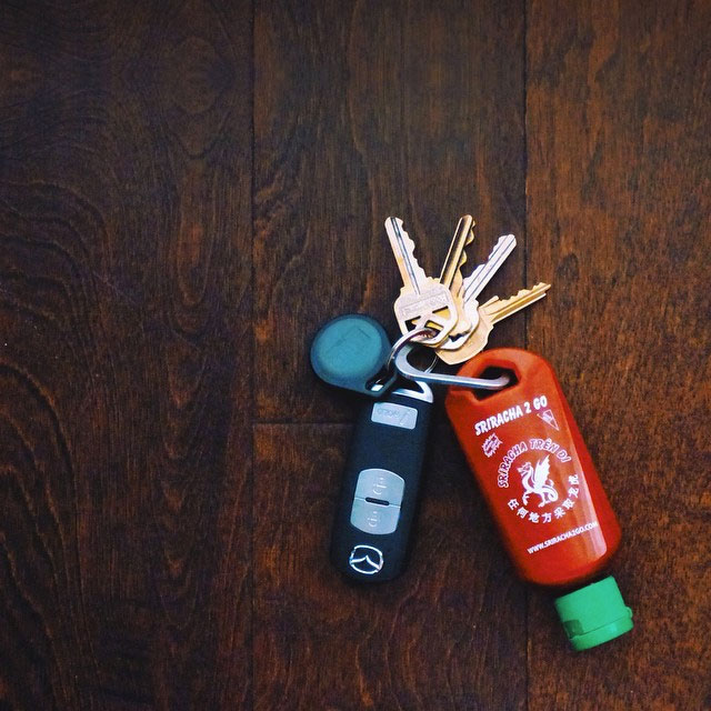 Refillable Sriracha Keychain ... 76a2e5f7da3e