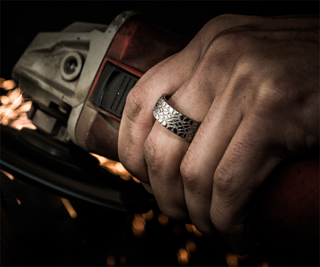 tire tread rings - Mud Tire Wedding Rings