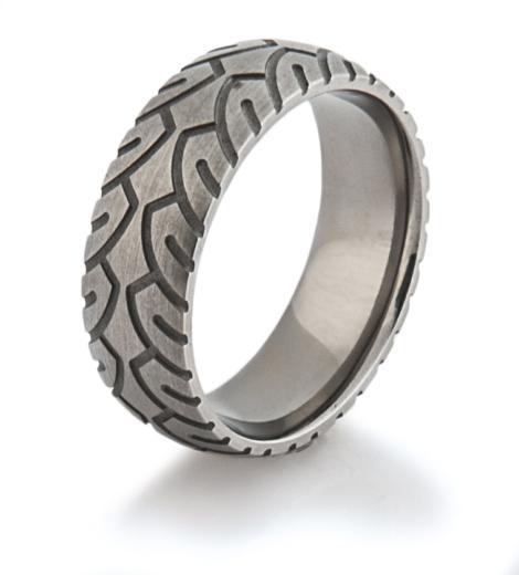 tire tread rings - Tire Wedding Rings