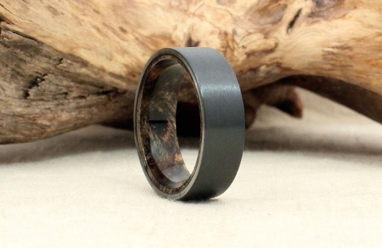 Wooden Wedding Bands 89 Cool  Black Zirconium u