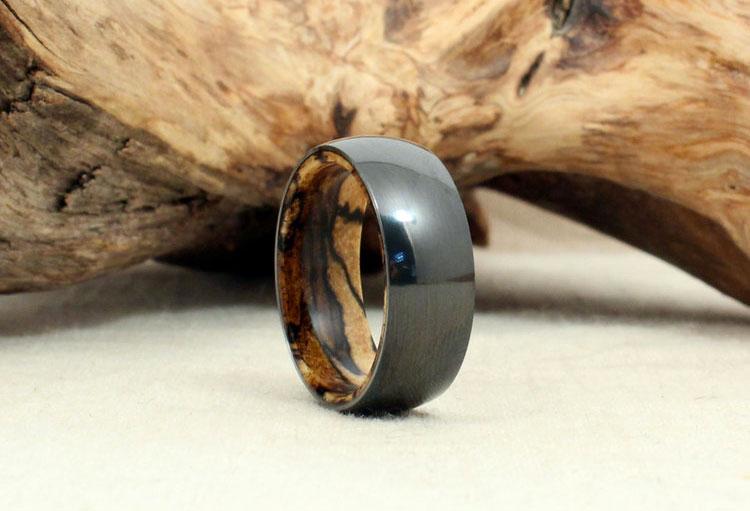 Wood Wedding Ring 56 Epic  Black Zirconium u