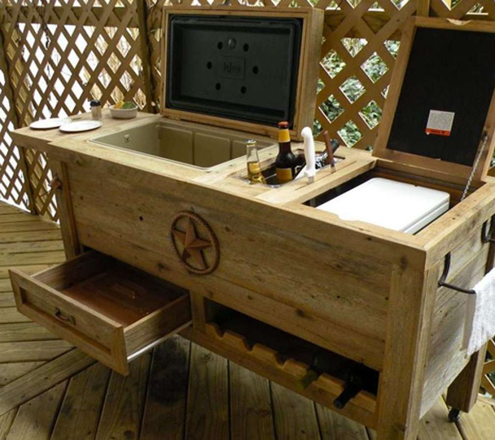 ... Rustic Patio Bar U0026 Cooler ...