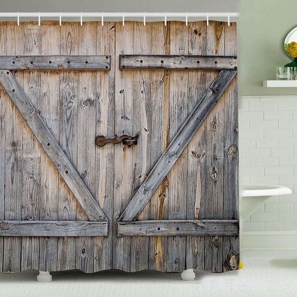 barn door shower curtain barn door shower curtain