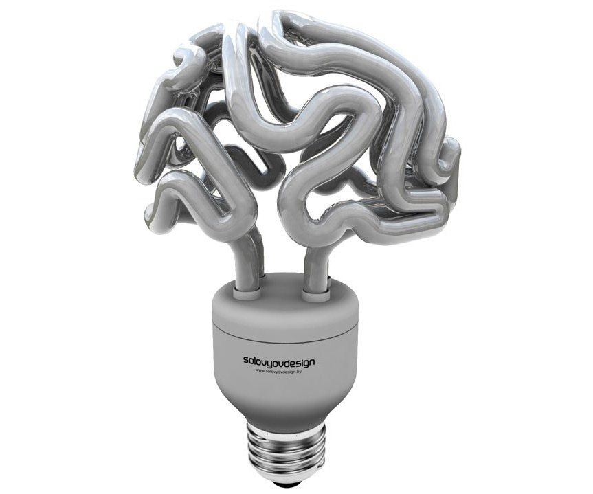 ... Brain Light Bulb Side View ...