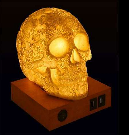Day Of The Dead Lace Skull Lamp | DudeIWantThat.com