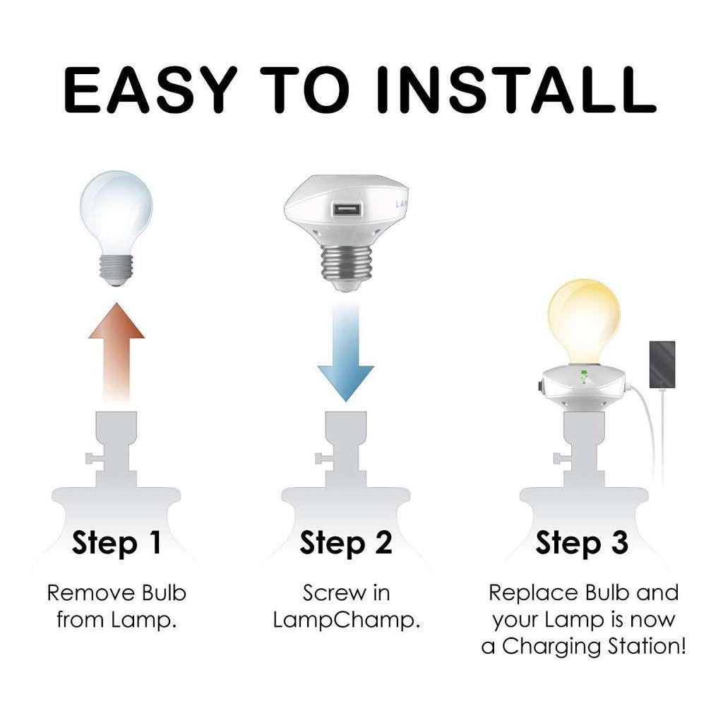 Lovely ... LampChamp USB Lamp Socket Charger ...
