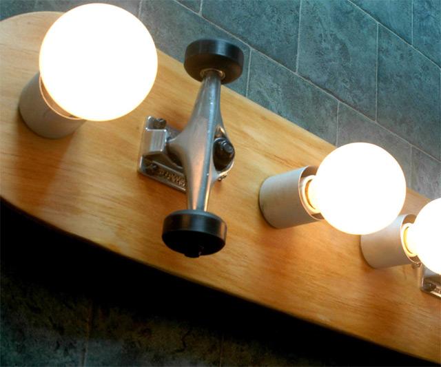 Skateboard Bathroom Vanity Light; Skateboard Bathroom Vanity Light    Closeup ...
