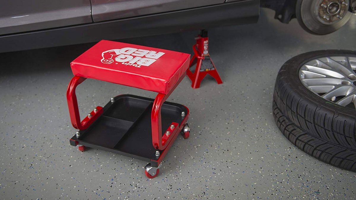 Garage//Shop Seat with 300-Pound Capacity Red Basics Rolling Creeper