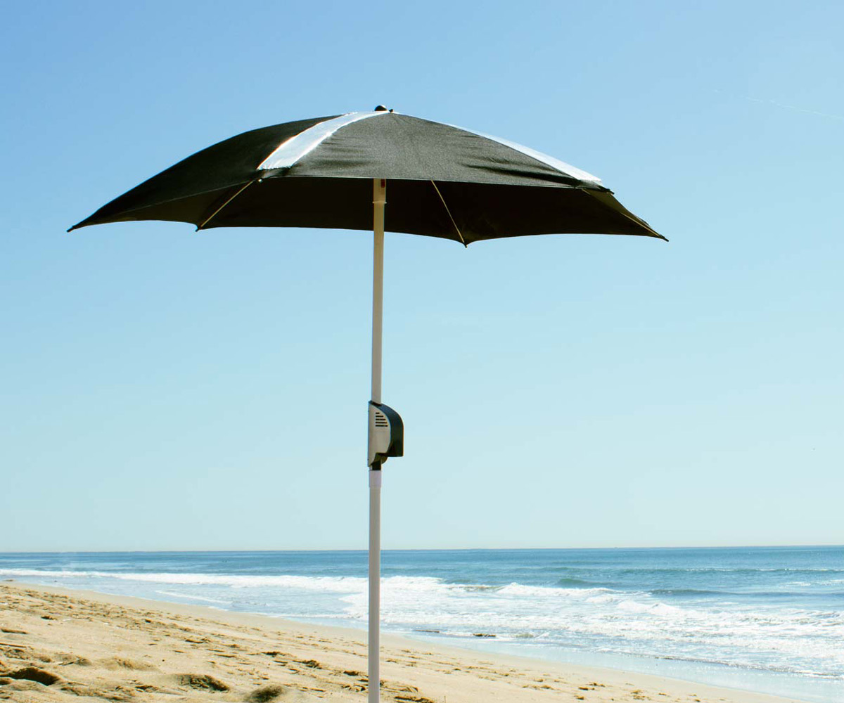 beach umbrella. PowerShade Solar-Powered Beach Umbrella A