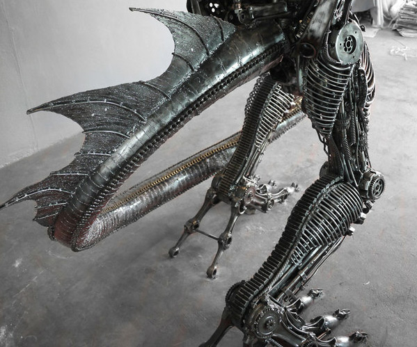 Inspirational  Giant Steampunk Dragon Closeup of Tail and Legs