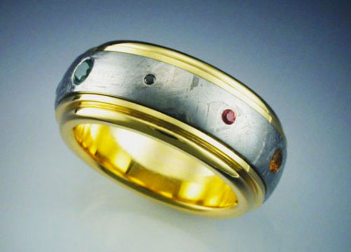 Mens Spinner Wedding Band 11 Fabulous  Planets Ring with