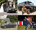 DeLorean, A-Team Van, Bond Aston Martin, and Shaguar Rentals