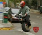 Man on RYNO One Wheel Motorcycle