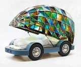 Stained Glass Driverless Sleeper Car of the Future