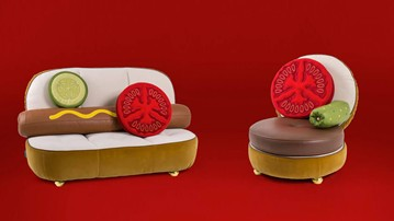 Hot Dog Sofa & Hamburger Chair