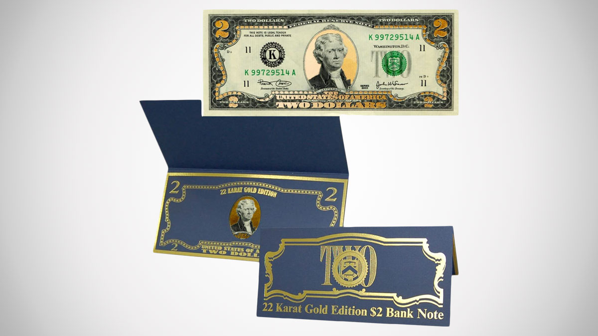 22K Gold Layered Uncirculated Two Dollar Bill