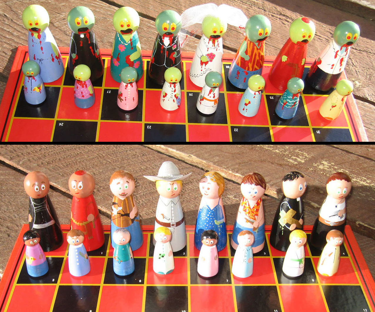 Zombies vs the living chess pieces - The chessmen chess set ...
