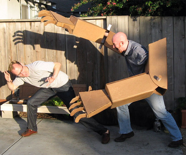 Blueprints Robot Arm Made Out Of Cardboard : Giant cardboard robot arms kit dudeiwantthat