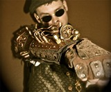 Steampunk Combat Tesla Armor - Forearm Bracer Closeup