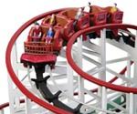 Self-Propelled Wooden Roller Coaster - Closeup of Passengers