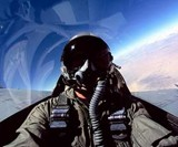 Man in Helmet Fighter Pilot for a Day