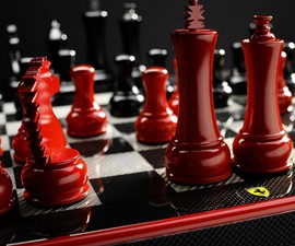 Ferrari Carbon Fiber Chess Set