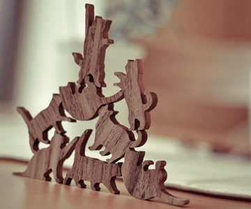 Wooden Cat Pile Stacking Game