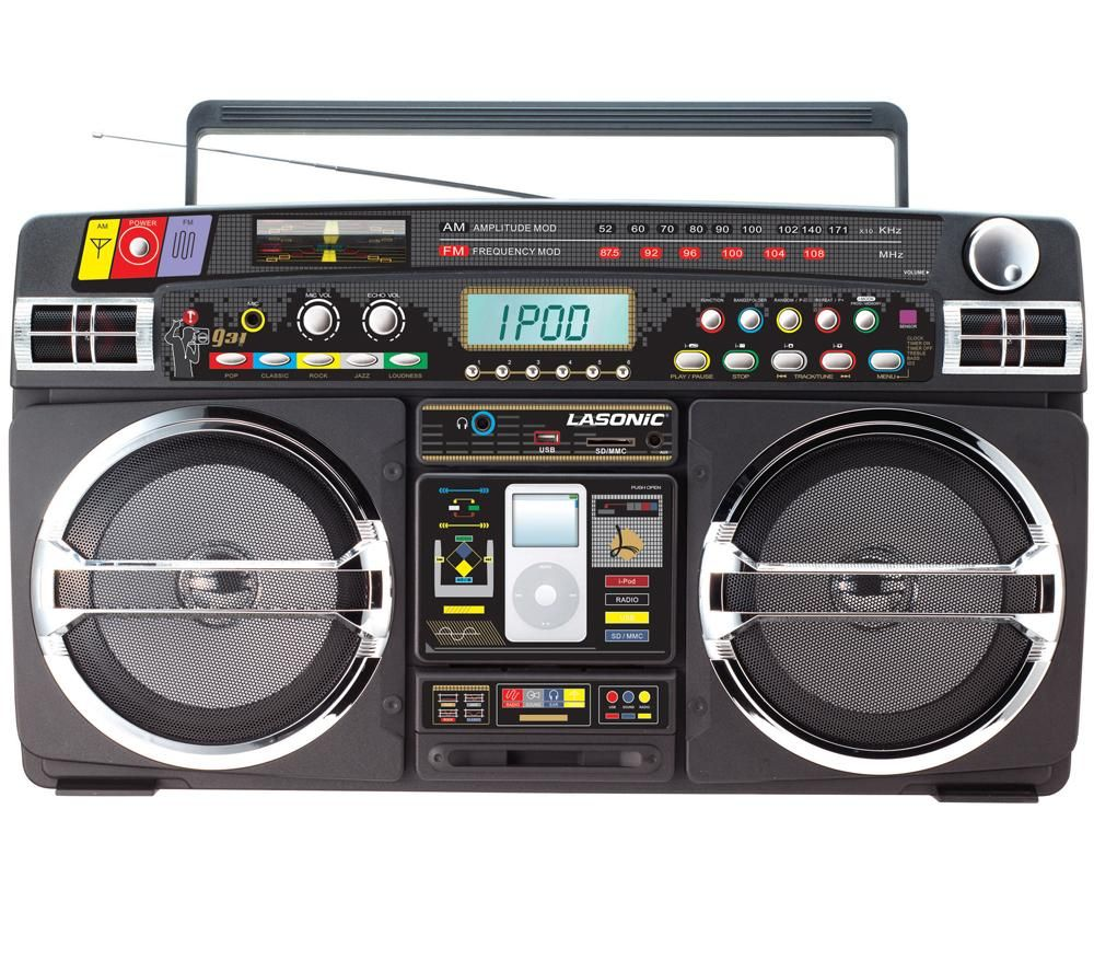 ghetto blaster with ipod iphone dock. Black Bedroom Furniture Sets. Home Design Ideas