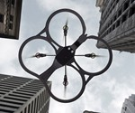 App-Controlled Video Quadricopter Bottom View in Flight