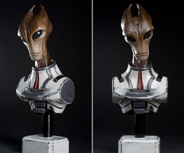 Mass Effect Salarian Statue - Front & 3/4 Views