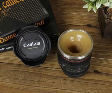 Self-Stirring Camera Lens Mug
