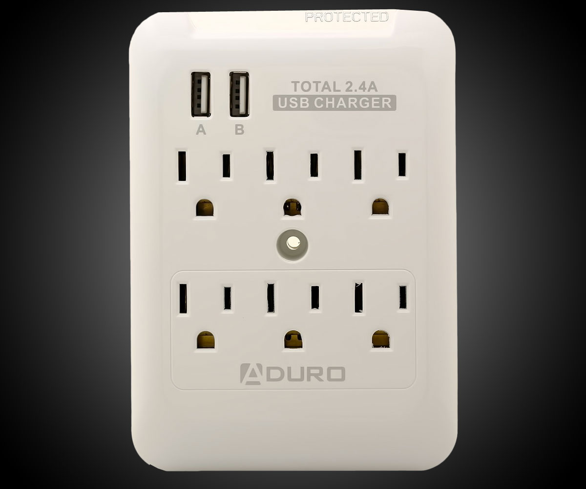 Surge Protector with 6 Outlets & 2 USB Ports