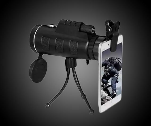 Zoomable 60X Monocular & Smartphone Attachment