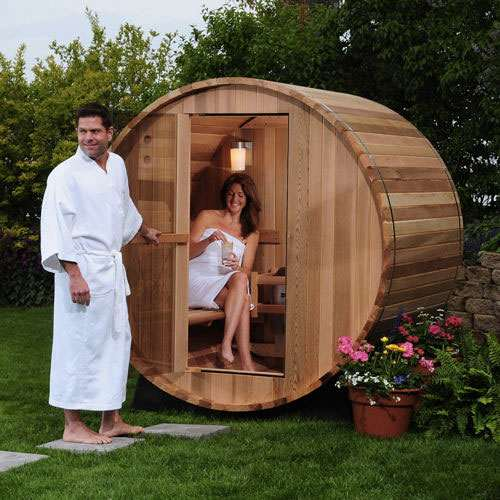 2 person canopy barrel sauna. Black Bedroom Furniture Sets. Home Design Ideas