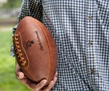 Man Holding Leather Head Handmade Football
