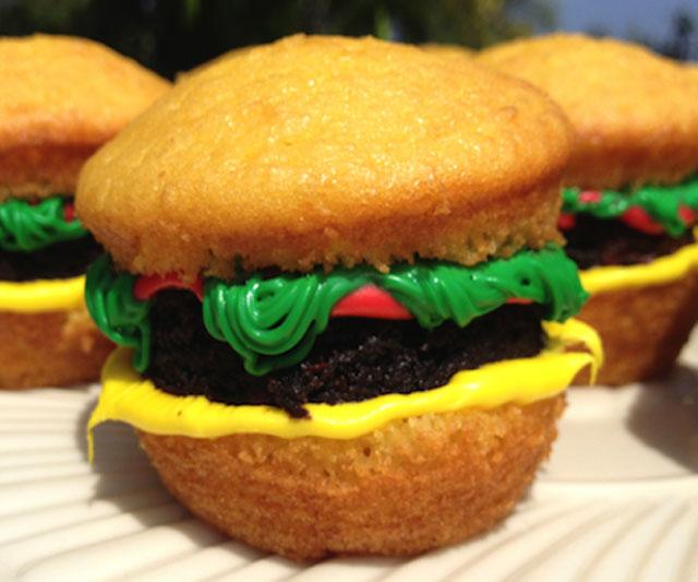 Cheeseburger Cupcake Brownies
