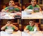 Child Making Glee Chicle Chewing Gum