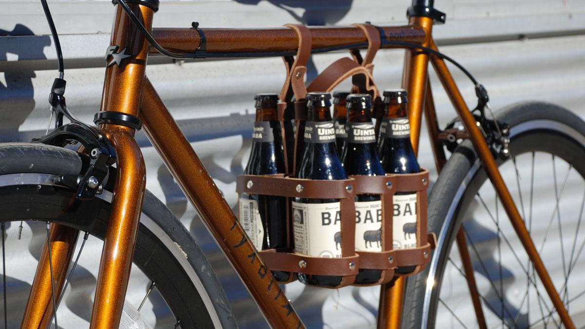 Leather 6-Pack Bike Caddy