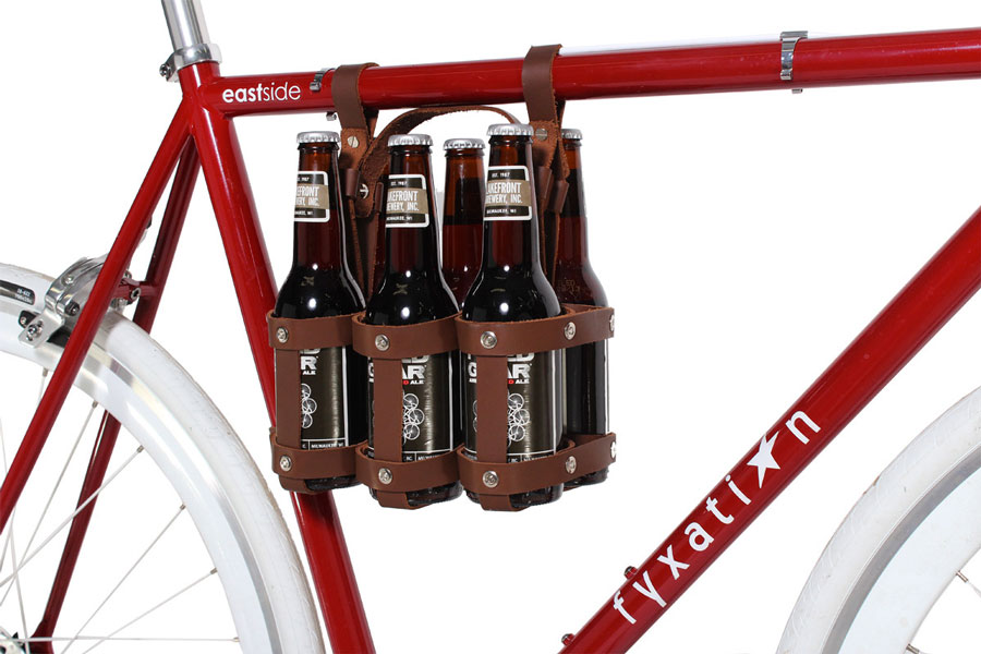 Bike Mounted Leather Beer Caddy Dudeiwantthat Com