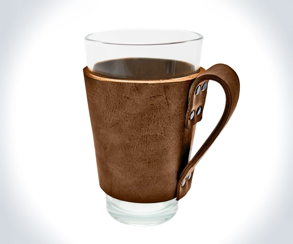 leather pint glass sleeve with handle. Black Bedroom Furniture Sets. Home Design Ideas