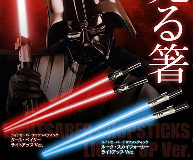 Light-up Saber Chopsticks in Vader's Red & Skywalker's Blue