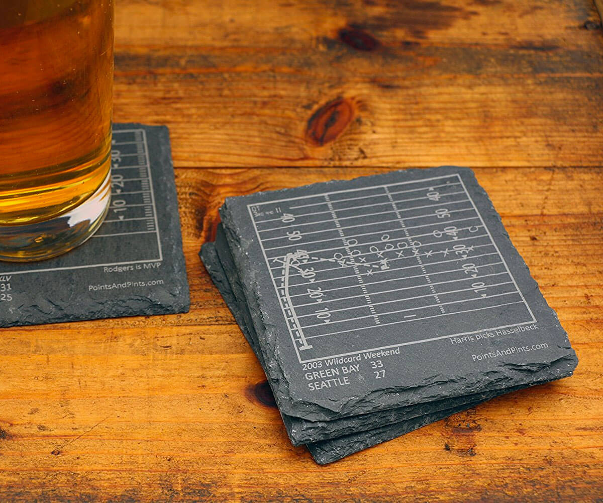 Nfl football teams 39 greatest plays slate coasters for Best coasters for sweaty drinks