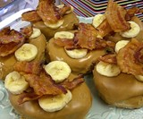 Peanut Butter Frosted Donuts with Bananas & Bacon