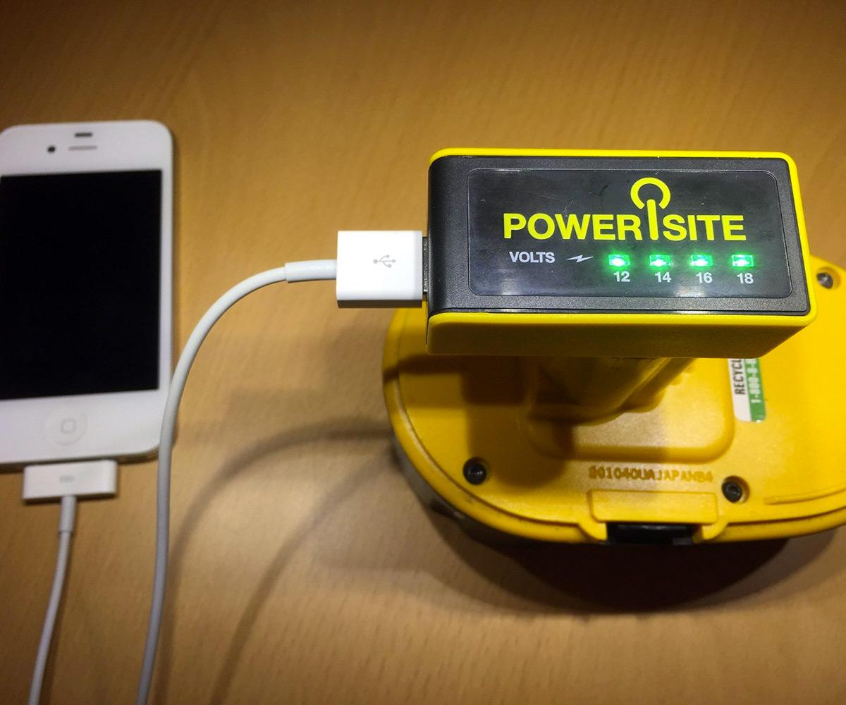 How To Charge Your Phone With A Battery >> PoweriSite DeWalt Battery to USB Charger   DudeIWantThat.com