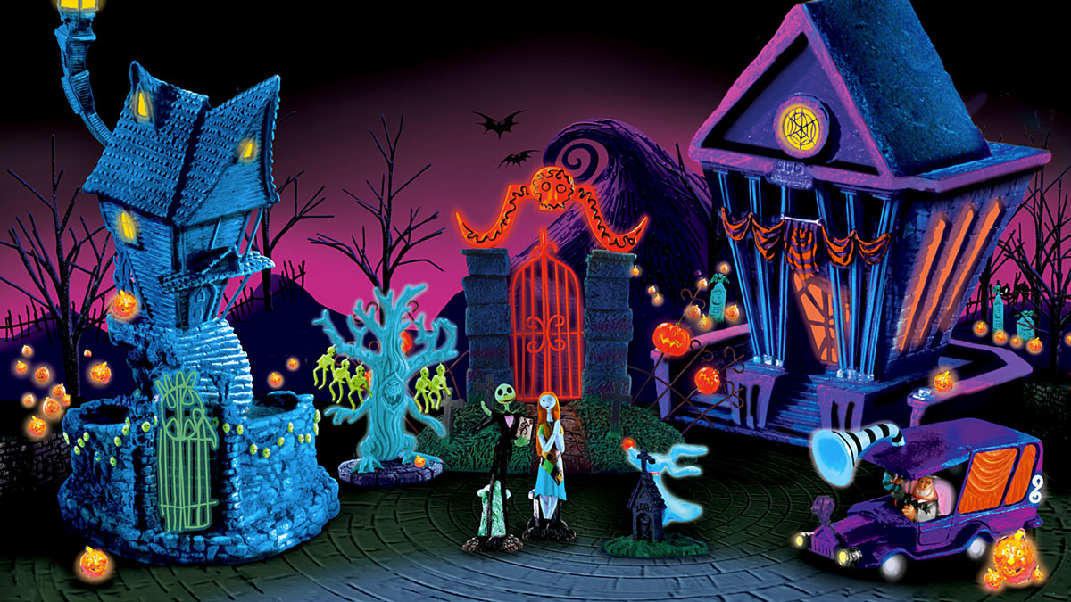 Nightmare Before Christmas Black Light Village | DudeIWantThat.com