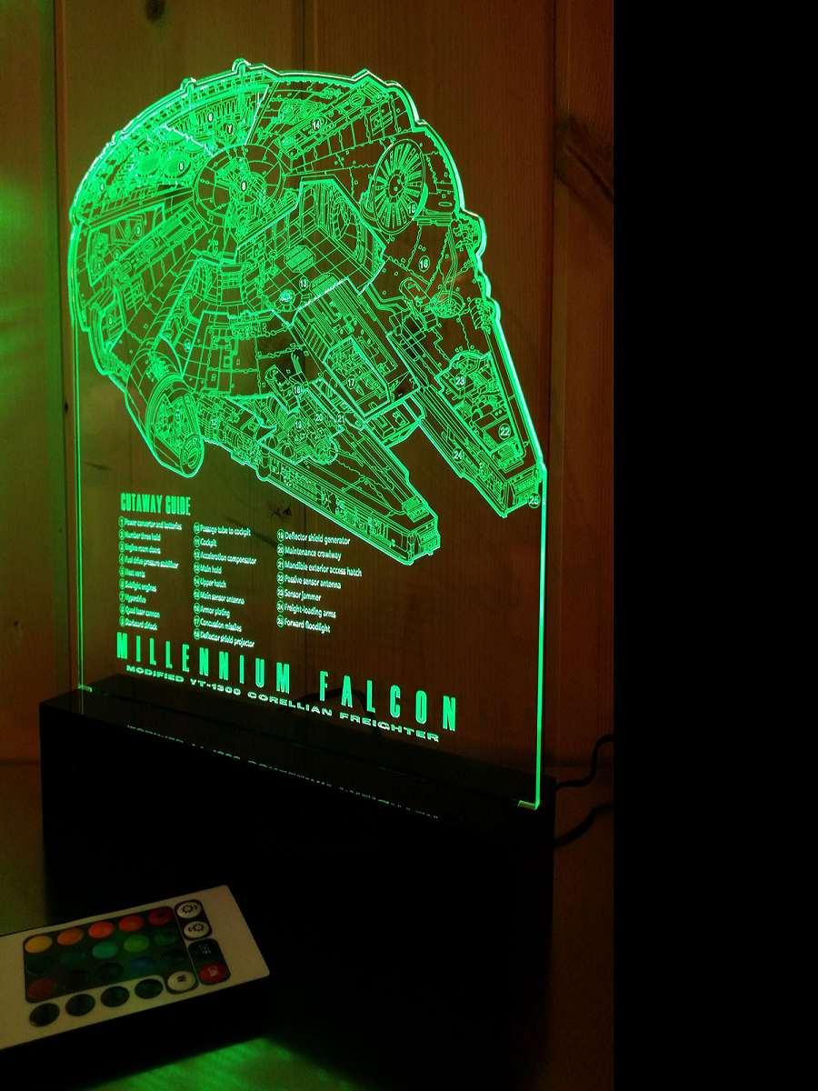 Millennium Falcon Blueprint Led Lamp Dudeiwantthat Com