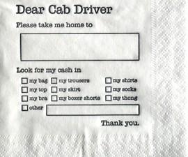 Dear Cab Driver Napkins