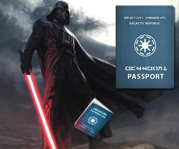Galactic Republic Passport and Darth Vader