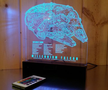 Millennium Falcon Schematic Blueprint LED Lamp