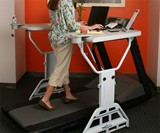 Woman Using Treadmill Desk